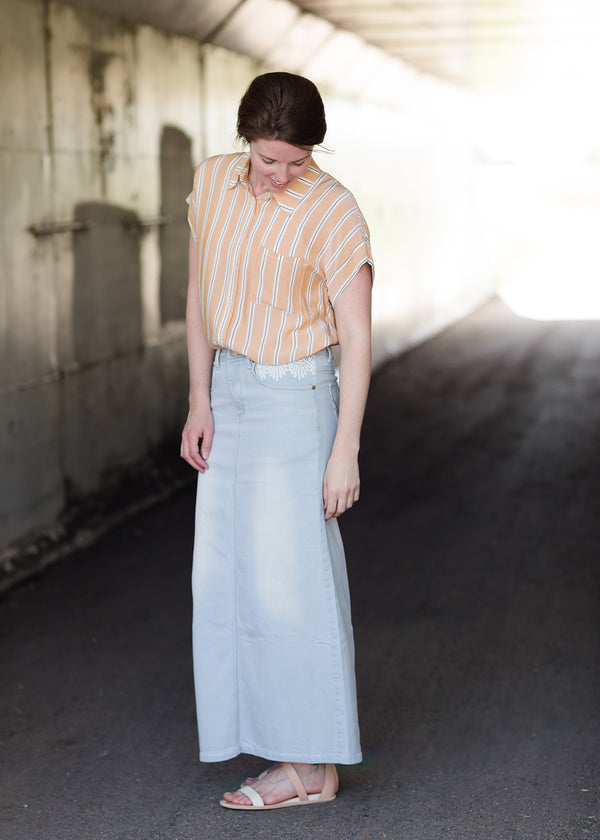 Inherit Co.  | Modest Women's Skirts | Hailee Long Denim Skirt | Women's long light wash modest denim-jean skirt with lace pockets