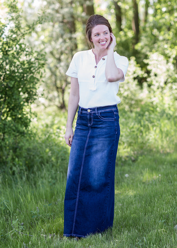 Inherit Co.  | Modest Women's Skirts | Stella Dark Denim Skirt | woman wearing a long dark denim jean skirt