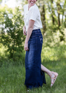 Inherit Co.  | Inherit Originals | Stella Dark Denim Skirt | woman wearing a long dark denim jean skirt
