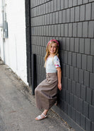 girls modest khaki twill skirt with no slit