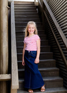 young girls modest long denim jean skirt