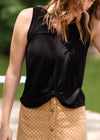 Black Triblend Front Knot Tank Top