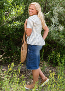 Light Blue Striped Peplum Top