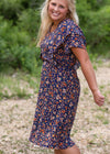 Floral Flutter Sleeve Drawstring Dress - FINAL SALE