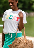 Front Patched Vacay Ivory Tee Shirt - FINAL SALE