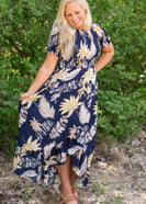 Tropical Hi-Lo Navy Midi Dress - FINAL SALE