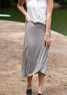 Gray Elastic Waist Knit Midi Skirt - FINAL SALE