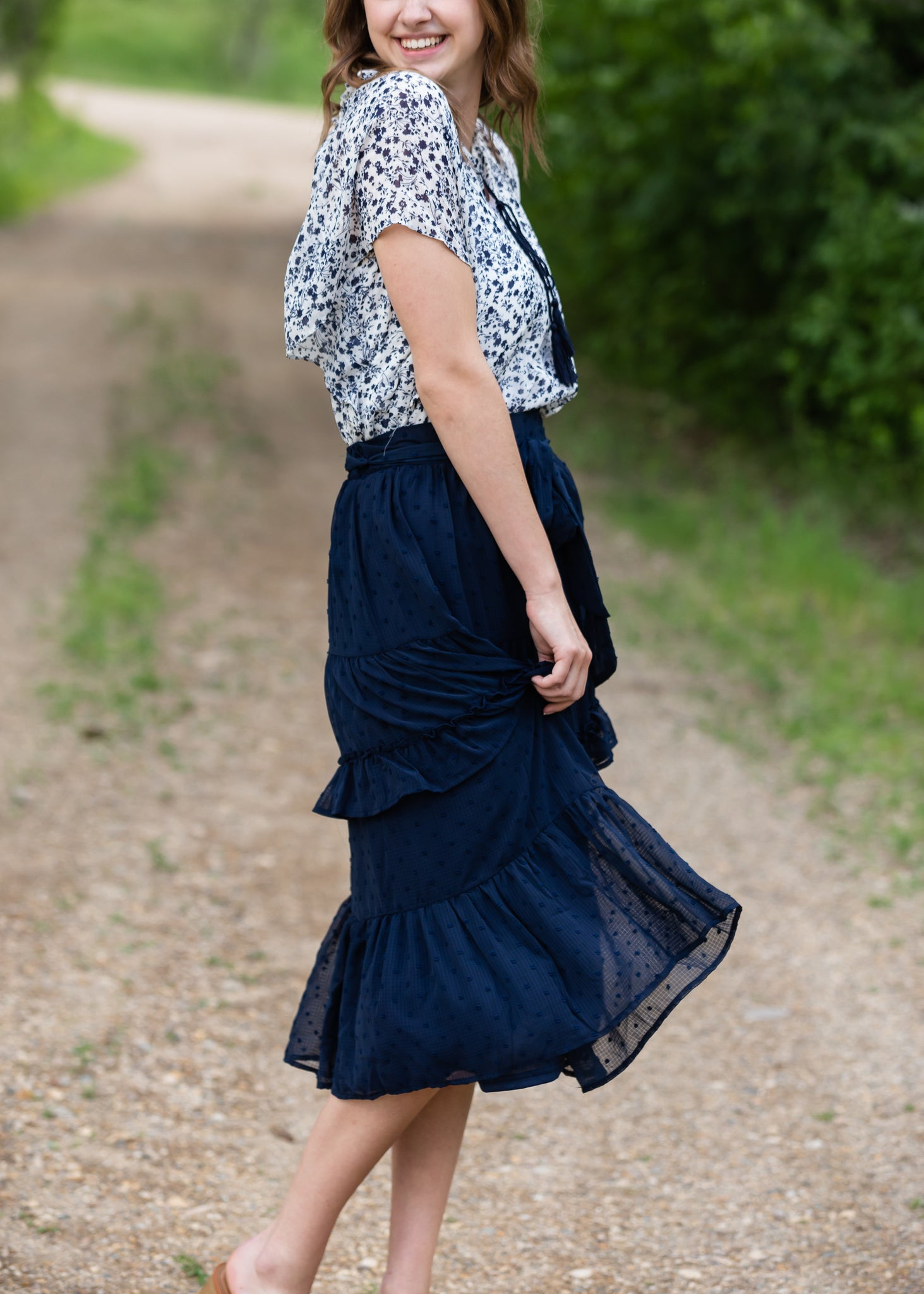 Navy Swiss Dot Tiered Midi Skirt - FINAL SALE