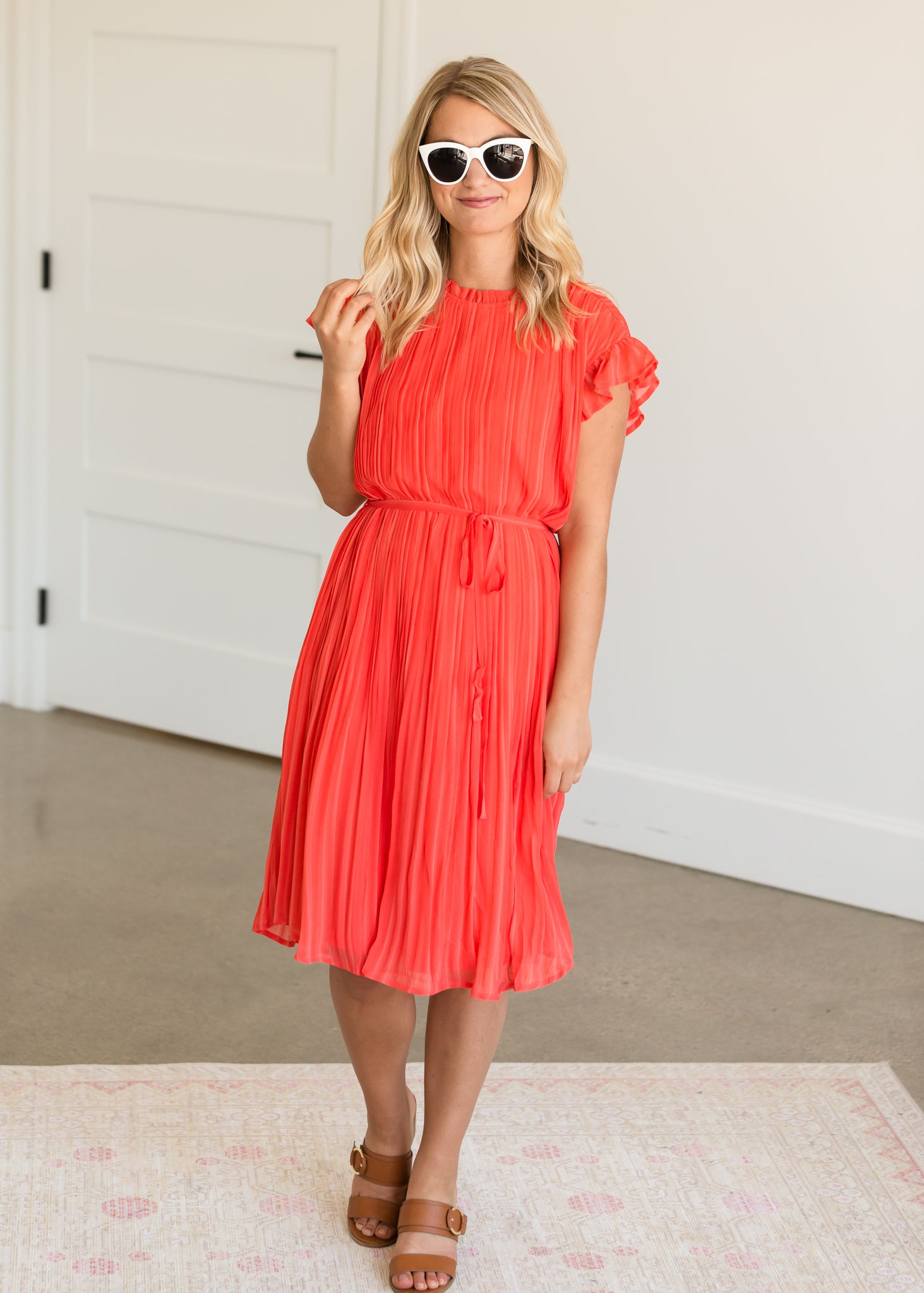 High Neck Pleated Belted Coral Midi Dress - FINAL SALE