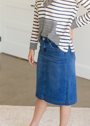 Bailee Triple Stitch Midi Denim Jean Skirt - FINAL SALE