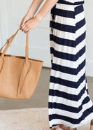 Navy Striped Drawstring Maxi Dress