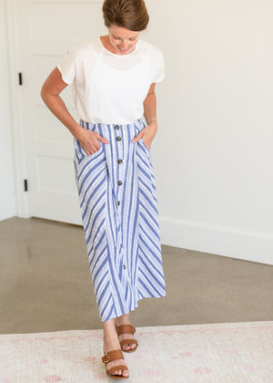 Blue Striped Button Down Midi Skirt - FINAL SALE
