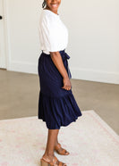 Navy Ruffle Tie Waist Midi Skirt - FINAL SALE