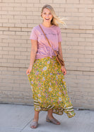 Yellow Floral Waist Tie Midi Skirt - FINAL SALE