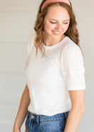 White Ribbed Puff Sleeve Tee - FINAL SALE