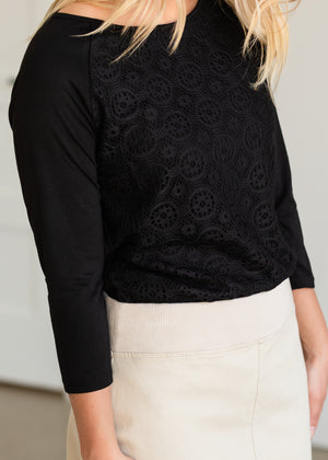 Black Amy Lace 3/4 Sleeve Top
