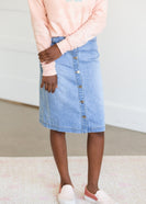 Button Down Light Denim Midi Skirt - FINAL SALE