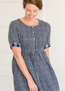 Navy Gingham Faux Button Up Midi Dress - FINAL SALE