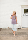 Navy Striped Modest Tee with a Floral Top and Pocket