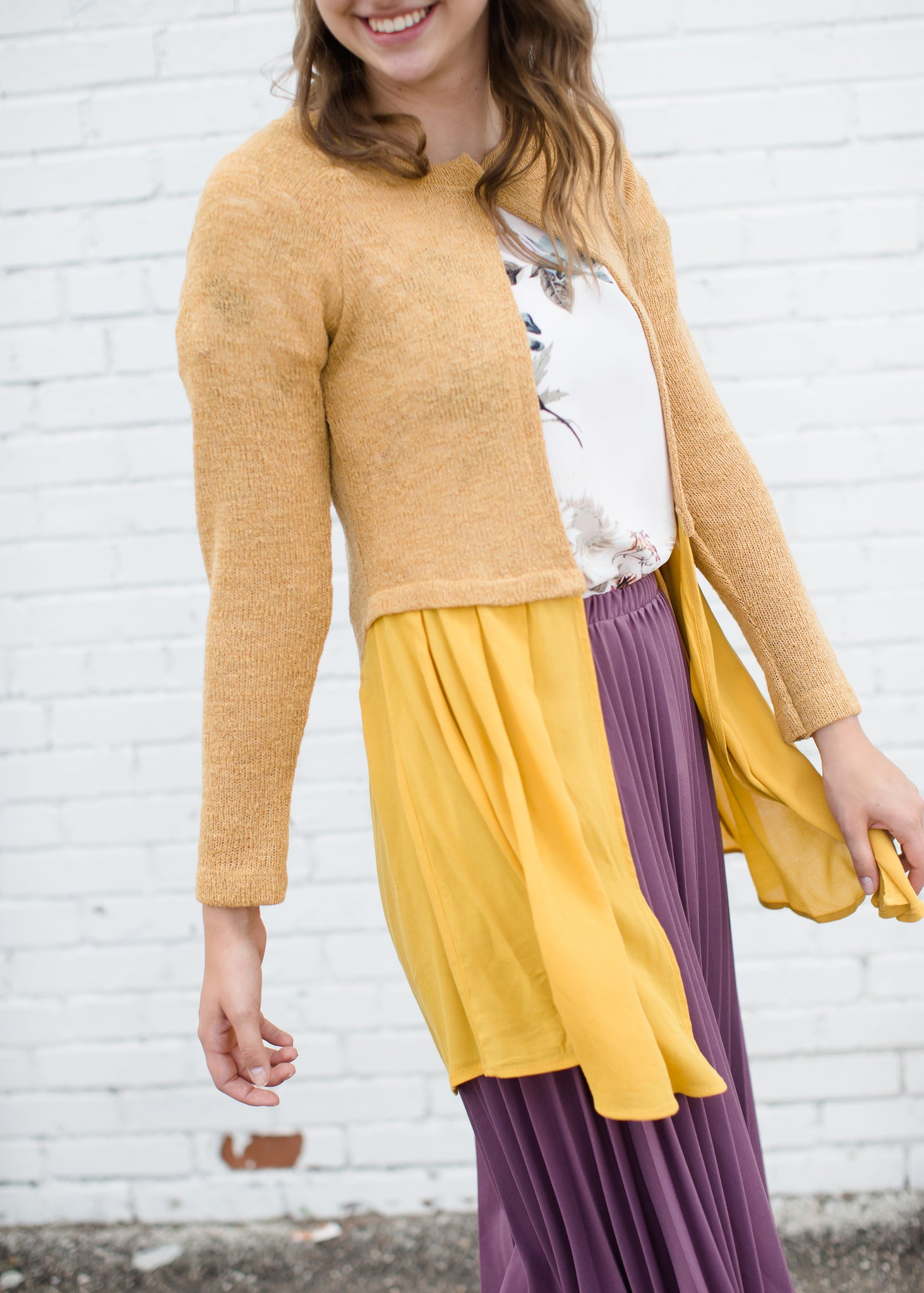 Yellow Knit Long Open Cardigan with Button