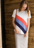 color block blue and orange striped top