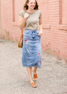 Denim midi skirt with red embroidered flowers