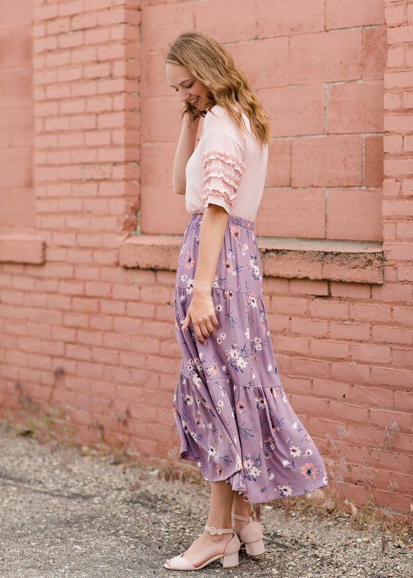 Inherit Co.  | Vintage Tiered Floral Maxi Skirt | Women's purple maxi skirt with pink floral