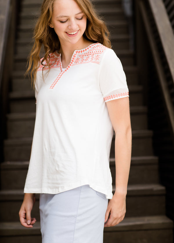 Coral Embroidered Modest Top