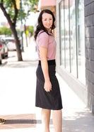 Joey Black Stretch Waist Midi Skirt - FINAL SALE