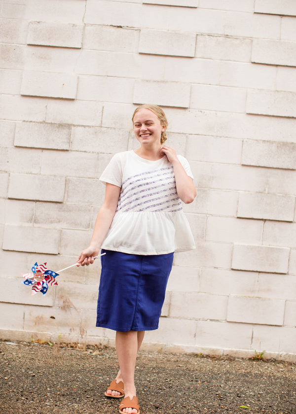 Inherit Co.  | Modest Women's Tops | Patriotic Striped Peplum Jersey Top - FINAL SALE | Women's Red White and Blue Modest Top