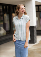 mint and white striped top with side tie details