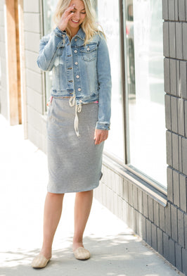 Inherit Co.  | Modest Women's Skirts | Crushed Denim Fringe Hem Midi Skirt - FINAL SALE |