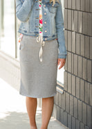 Heather Grey Drawstring Midi Skirt