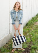 Navy and White Striped Satchel