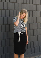 Black Drawstring Midi Skirt