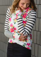 Stripe and Floral Contrast Hooded Sweatshirt - Final Sale