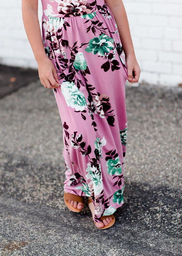 Girls mauve maxi dress with teal floral accents