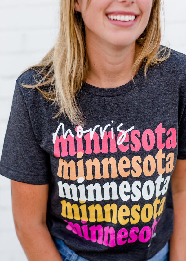 Women's dark gray morris minnesota modest graphic tee