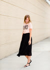 Women's pleated black or rose modest midi skirt