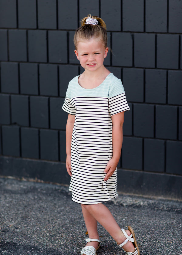 Inherit Co.  | Modest Clothing on Sale | Striped Cotton Midi Dress - FINAL SALE | Girls cream and black striped midi dress with a mint detail