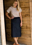 Inherit Co.  | Inherit Originals | Lillian Classic Skirt | Women's modest light denim comfort band skirt