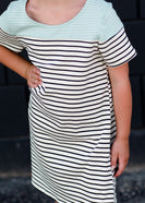 Girls cream and black striped midi dress with a mint detail