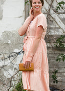 Peach Button Front V-Neck Midi Dress - FINAL SALE