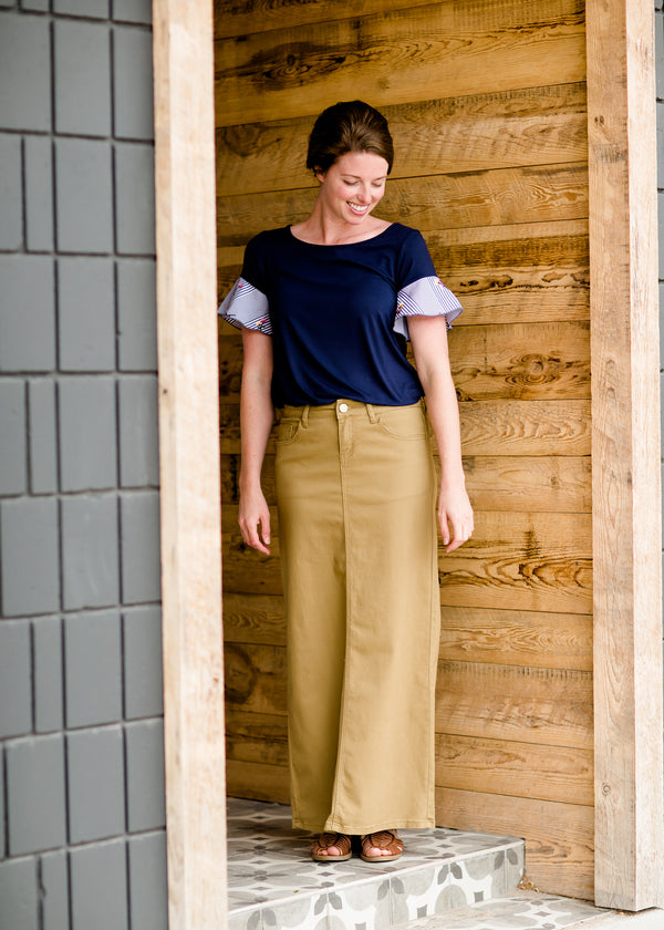 Inherit Co.  | Inherit Originals | Stella Dark Khaki Long Denim Skirt | women's long colored denim maxi skirts