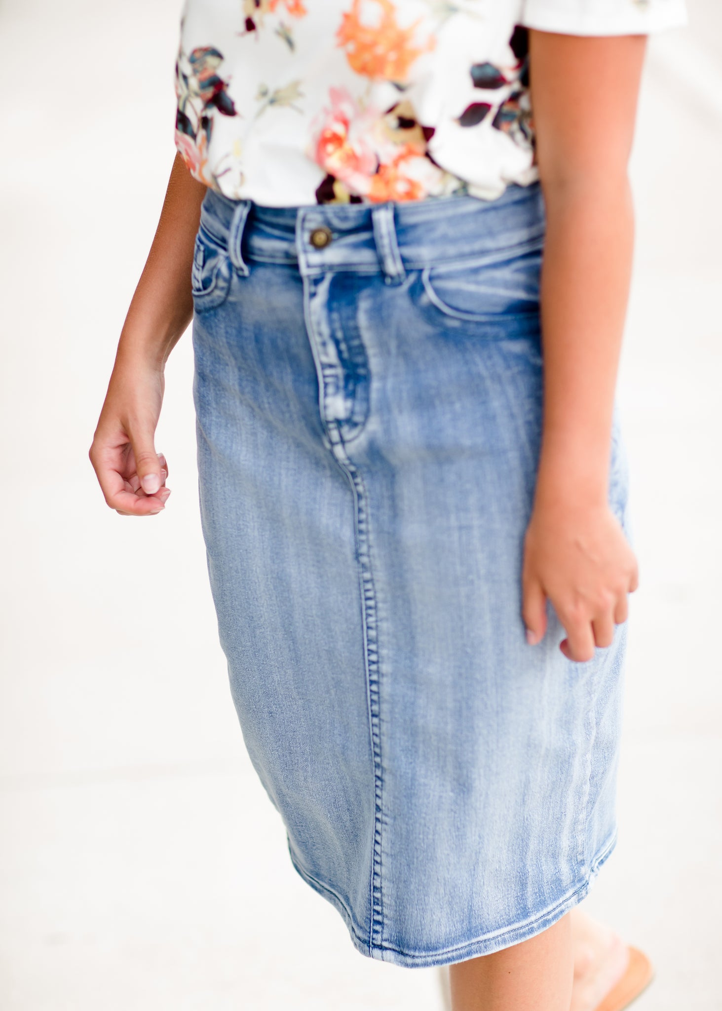 Modest denim midi skirt