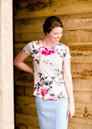 women's mauve tee with pink and yellow floral