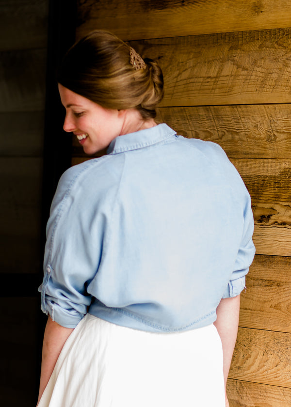 Modest Front Tie Chambray Top