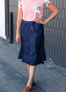 Button Front Stretch Waist Denim Midi Skirt - FINAL SALE