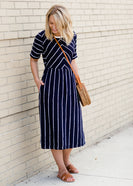 Navy nursing friendly midi dress with scalloped detail