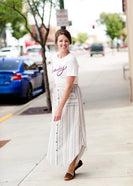 oatmeal and gray striped linen button down midi skirt